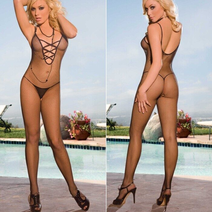Crotchless Fishnet Bodystocking, Electric Lingerie EH215-BLK