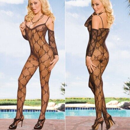 Crotchless Bodystocking, Electric Lingerie EH216-BLK