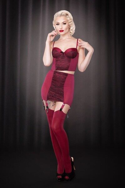 Пояс для чулок Pankhurst Burgundy Girdle, Kiss me Deadly, UK